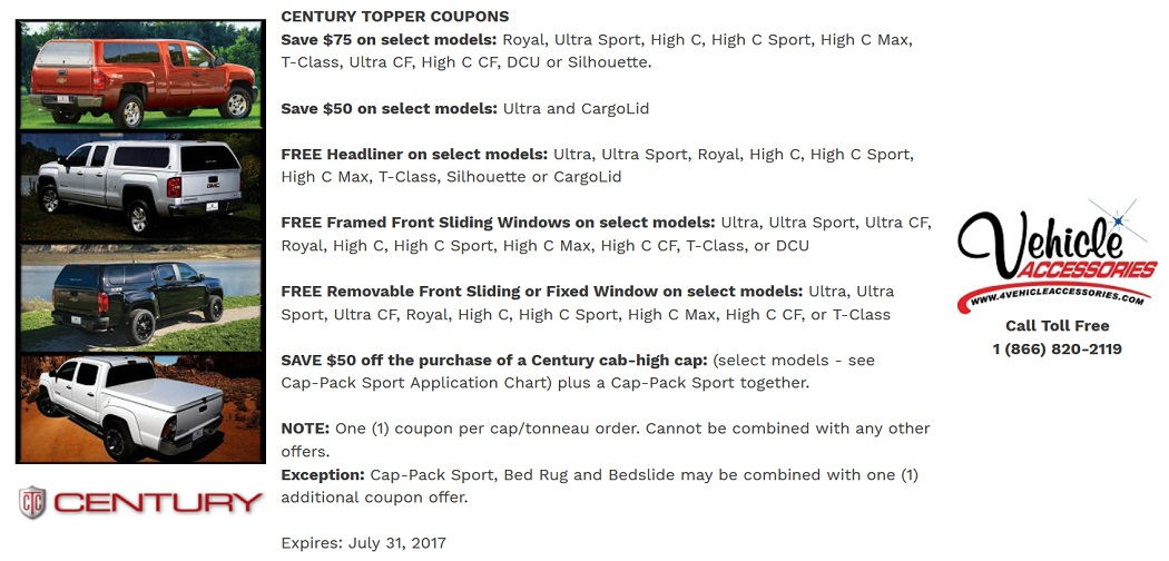 CENTURY TRUCK CAP AND LIDS COUPONS