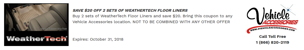 VEHICLE ACCESSORIES WEATHERTECH COUPON